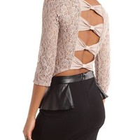Bow-Back Shimmer Lace Tee: Charlotte Russe