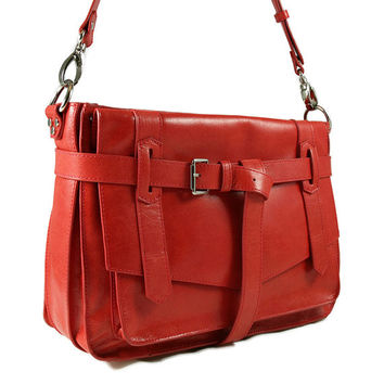 KAY red leather satchel