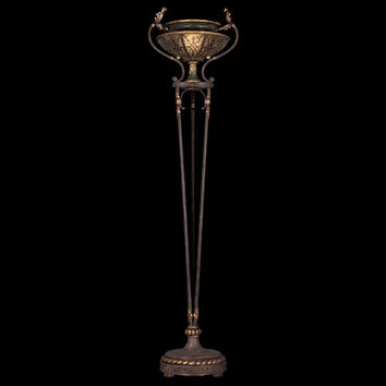 Fine Art Lamps 167331ST Villa 1919 One-Light Torchiere in Rich Umber Finish and Gilded Accents with Hand Painted Mica Shade