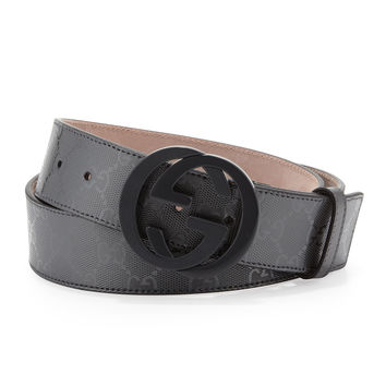 GG Supreme Canvas Belt with Interlocking G Buckle,