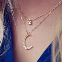 European Fashion Minimalist Exquisite Diamond Golden Moon Necklace