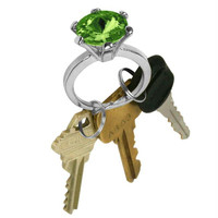 Bling Diamond Ring Key Chain - Emerald Color Stone