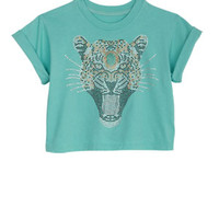 Embellished Leopard Face Crop Tee - Turquoise
