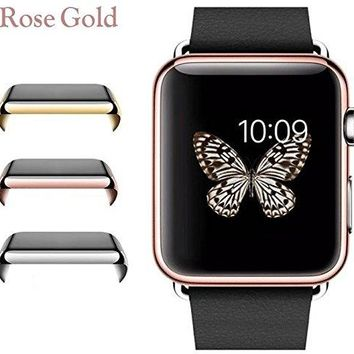 Josi Minea Apple Watch [38mm] Protective Snap-On Case with Built-in Clear Glass Screen Protector - Premium Anti-Scratch & Shockproof Shield Guard Full Cover for Apple Watch - 38mm [ Rose Gold ]