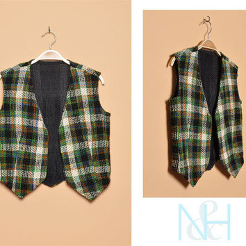 Vintage 1970s Plaid Woven Vest with Open Front