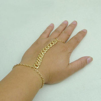 Women Slave Chain Bracelet Linked Ring gold