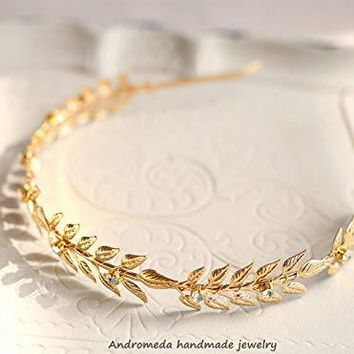 bride bridesmaid tiara Greek style tiara gold leaf headband crown children show photo hair accessories