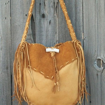 Handmade buckskin drum bag ,  Fringed leather handbag ,  Designer handbag ,  Fringed leather tote