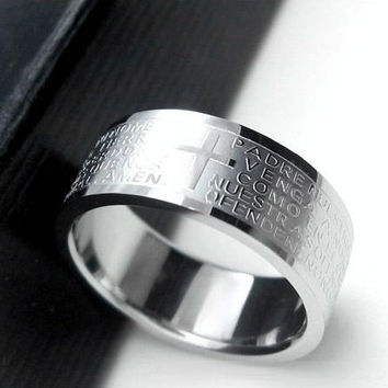 Silver rings for men women Stainless Steel Bible Lord's Prayer Cross Rings Punk fashion Men gift Jewelry rings