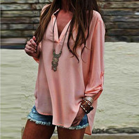 Pink V-Neck Asymmetric Blouse