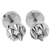 BodyJ4You Fake Plugs Spikes Stainless Steel Earrings 16G Studs Steel Gauges Cheater Jewelry