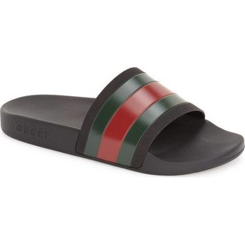 Black Gucci Slides Sandals