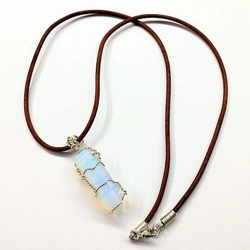 Sterling Silver Wire Wrapped Encased Gemstone Crystal Point Pendant