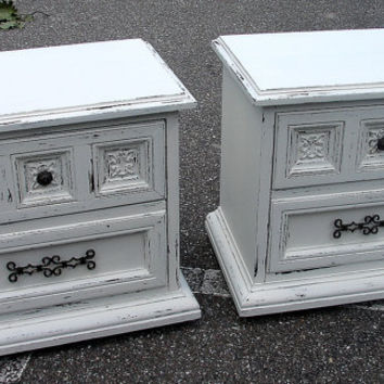 SALE Pair Reclaimed Mediterranean Mideastern Carved Shabby Chic White 2 Dr Nightstands Nightstand Table Tables (call for ship quote)