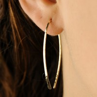 14K Solid Gold Handcrafted Hammered Textured Hoop Earrings