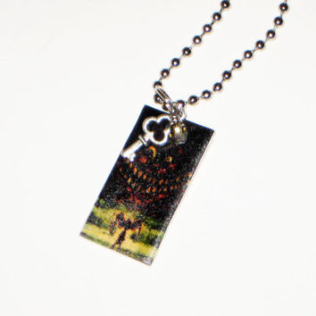 Alice in Wonderland Necklace Tag Tile White Rabbit Cheshire Cat Queen Alice- Party Favor-YOU CHOOSE