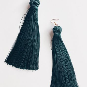 Fringed Tassel Earring- Green