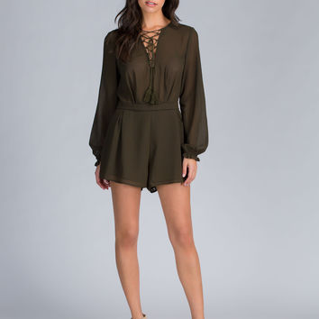 Romp And Roll Lace-Up Romper