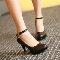 Ankle Straps Pumps Platform High Heels Women Shoes 2496