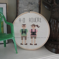 Portlandia! - Kath & Dave - A-O River! - Funny - Cross Stitch Pattern - PDF Instant Download