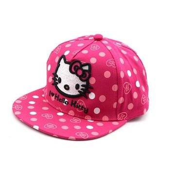 Trendy Winter Jacket Girls Sequins Hip-hop Baseball Cap Child more style Cartoon Hello Kitty Adjustable Snapback Baseball Hat Kids Cotton chapeau AT_92_12