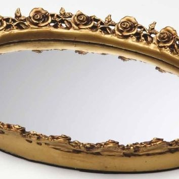 Taymor Antique Oval Resin Mirror Tray