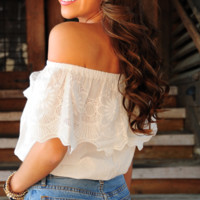 Lace In The Night Top: White