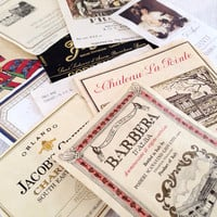 10 Vintage Wine Labels - Europe Ephemera Collage Creative Spark Vintage Paper Pack - label lot - italy - france - winery - wines - stocking