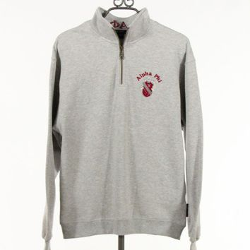 Quarter Zip Alpha Phi Sweatshirt in Heather Gray