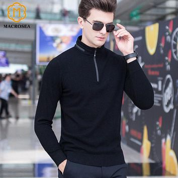 MACROSEA Men's Knitwear Wool Pullover Winter Male Casual Polo Sweaters 100% Merino Wool Classic Style Zipper Collar Pullover