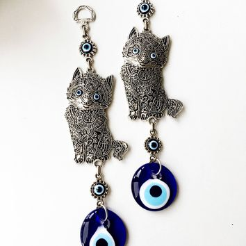 Evil eye wall hanging, cat wall decor, metal cat charm decor, turkish evil eye