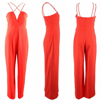 Orange Halter Strappy Cut-Out Jumpsuit