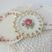 Shabby chic plate set vintage display pink roses mix match