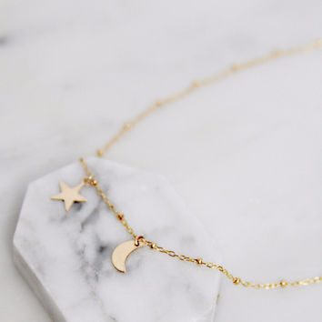 Siblings Moon and Star Necklace