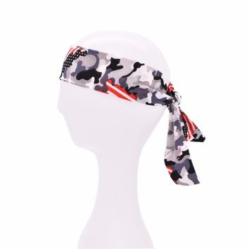 10pcs Tie Back camouflage Headbands Stretch Sports Sweatbands Yoga Hair Band Moisture Wicking Workout Bandanas Running Bands