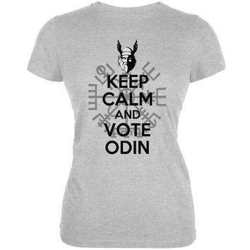 Keep Calm Vote Odin Funny Heather Grey Juniors Soft T-Shirt