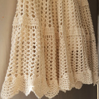 Crochet Cream Short Skirt, Mini skirt, College Fashion, Classic trendy Handmade Short Skirt