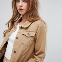 Liquor N Poker Tan Denim Girlfriend Jacket at asos.com