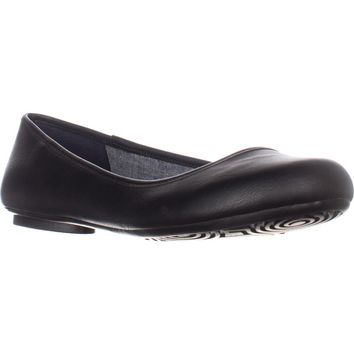 Dr. Scholl's Friendly Memory Foam Cool Fit Flats, Black Smooth, 7.5 US / 37.5 EU