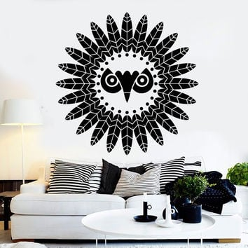 Vinyl Wall Decal Feathers Bird Ethnic Style Decoration Stickers Unique Gift (ig4453)