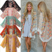 Lady Women Clothing Outfits New 2016 Retro Boho Floral Cardigan Hippie Cappa Shirts Loose Kimono Blouse Cape Top Beachwear