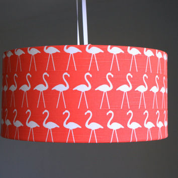 Flamingo fabric large lampshade - ceiling, table or floor lamp shade
