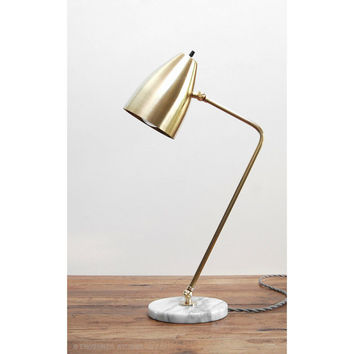 Modern Table Lamp - Marble Brass Lamp - Mid Century Table Lamp - Modern Desk Lamp - Grasshopper Lamp - Reading Light - Modern Bedside Lamp