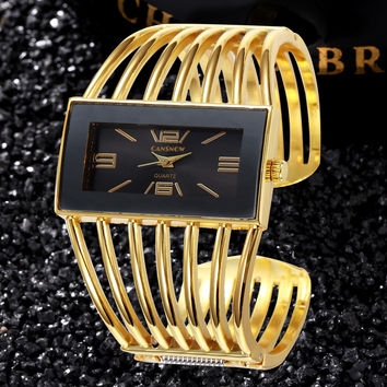 Big Face Gold Silver Bangle Watch Women Fashion Analog Quartz-watch Ladies Watches