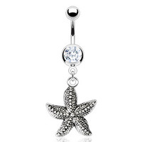 14g Dangling Starfish and Clear Gem Belly Button Ring Dangle Navel Body Jewelry Piercing with Surgical Steel Curved Barbell 14 Gauge