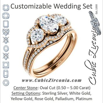 CZ Wedding Set, featuring The Lizabeth engagement ring (Customizable Oval Cut Enhanced 3-stone Style with Tri-Halos & Thin Pavé Band)