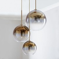 Sculptural Glass Globe 3-Light Chandelier - Mixed