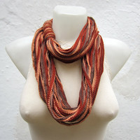Crochet Scarf infinity    Necklace Colorful  Long  winter  Accessories  Brown