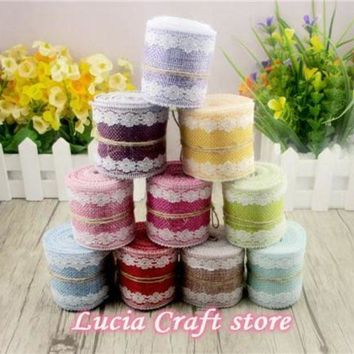 CREYN3C 4.8cm Multi Colors Option Natural Jute Hemp Ribbon With Cloth Wedding Party Decoration 2yards/lot 047005037