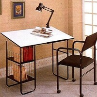 Artist/Architect White Laminated Drafting Table w/Lamp & Chair